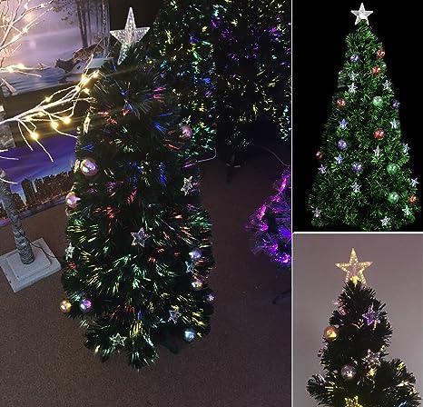uk availability d7a12 1621c 5ft Luxury Pre Lit Green Fibre Optic Christmas Xmas Tree ...