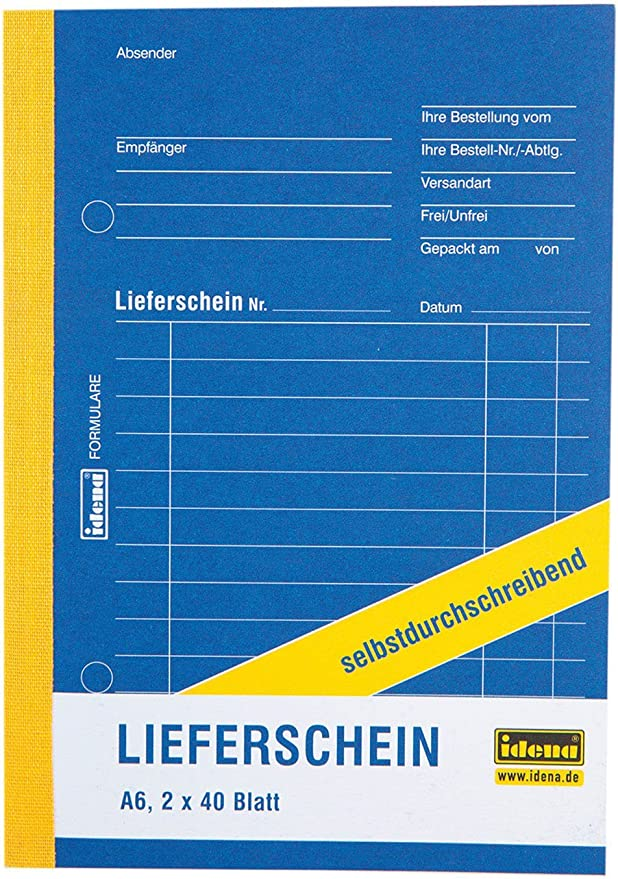 Idena 314253 Lieferscheinbuch Din A6 Selbstdurchschreibend Holzfreies Papier 2 X 40 Blatt Bürobedarf Schreibwaren