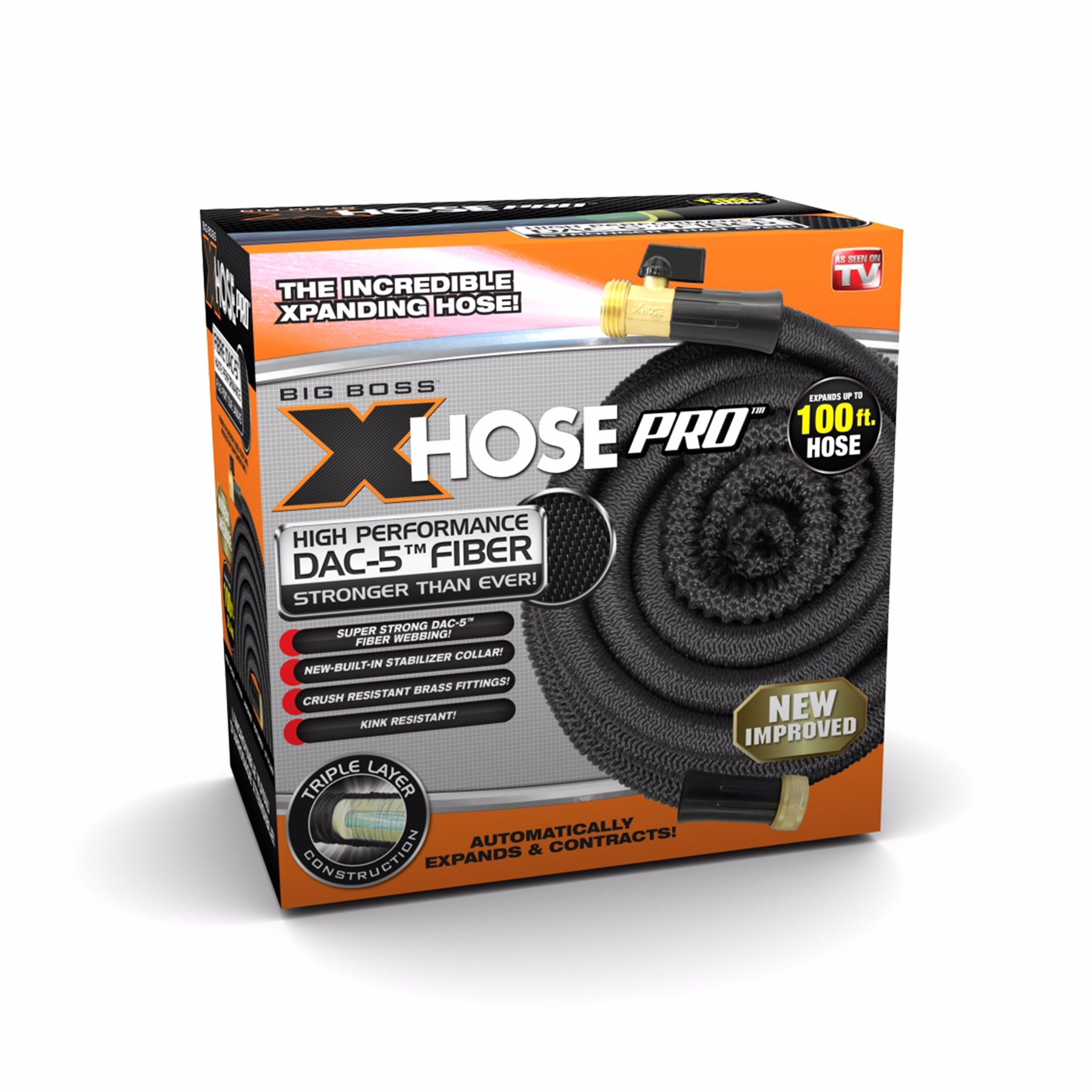 Xhose Pro DAC-5 High Performance Lightweight Expandable Garden Hose with Brass Fittings (100 Feet) by Xhose