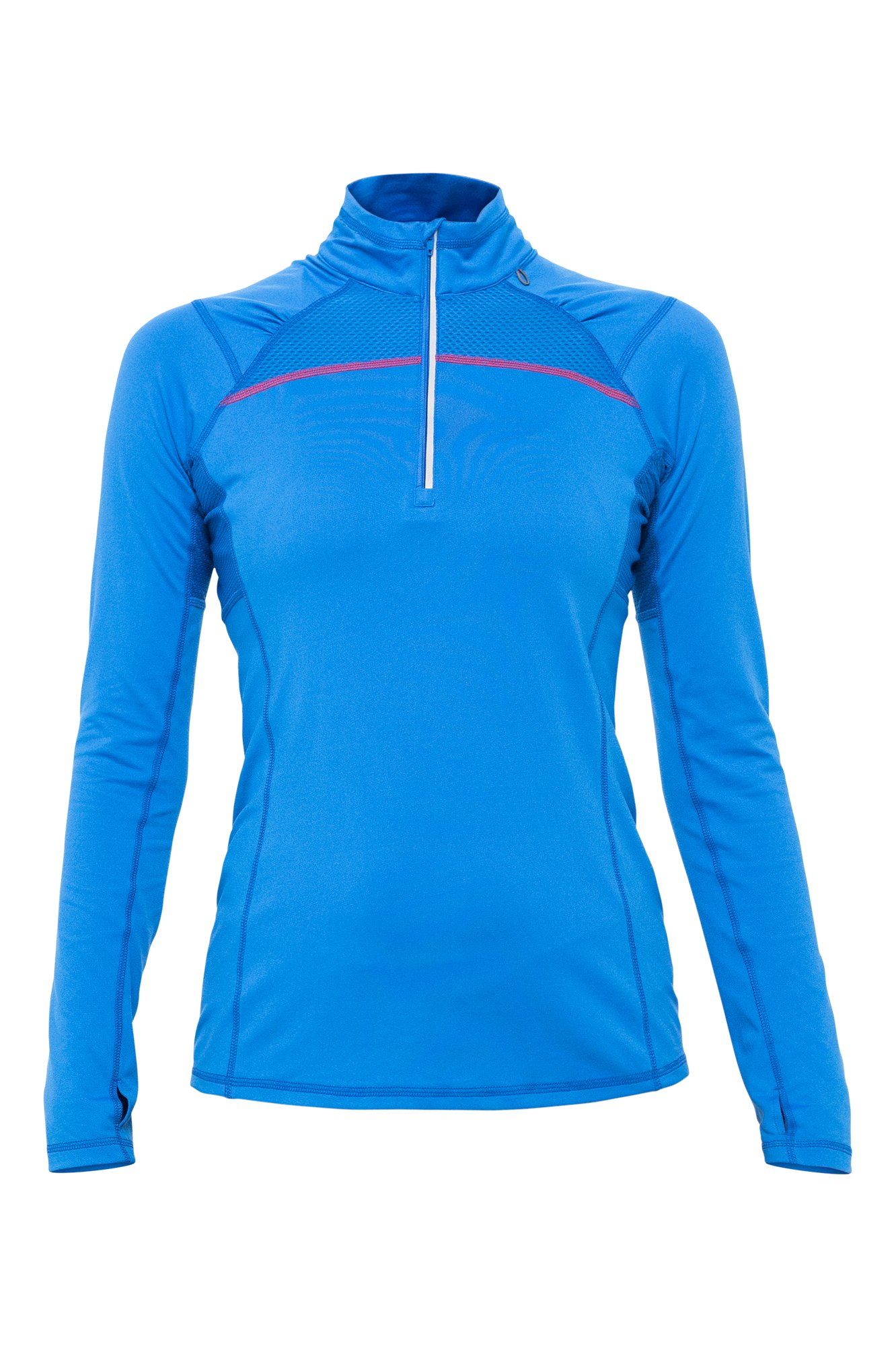 Lija Women's Dawn 1/4 Zip Pullover, Deep Blue/Poppy, X-Large