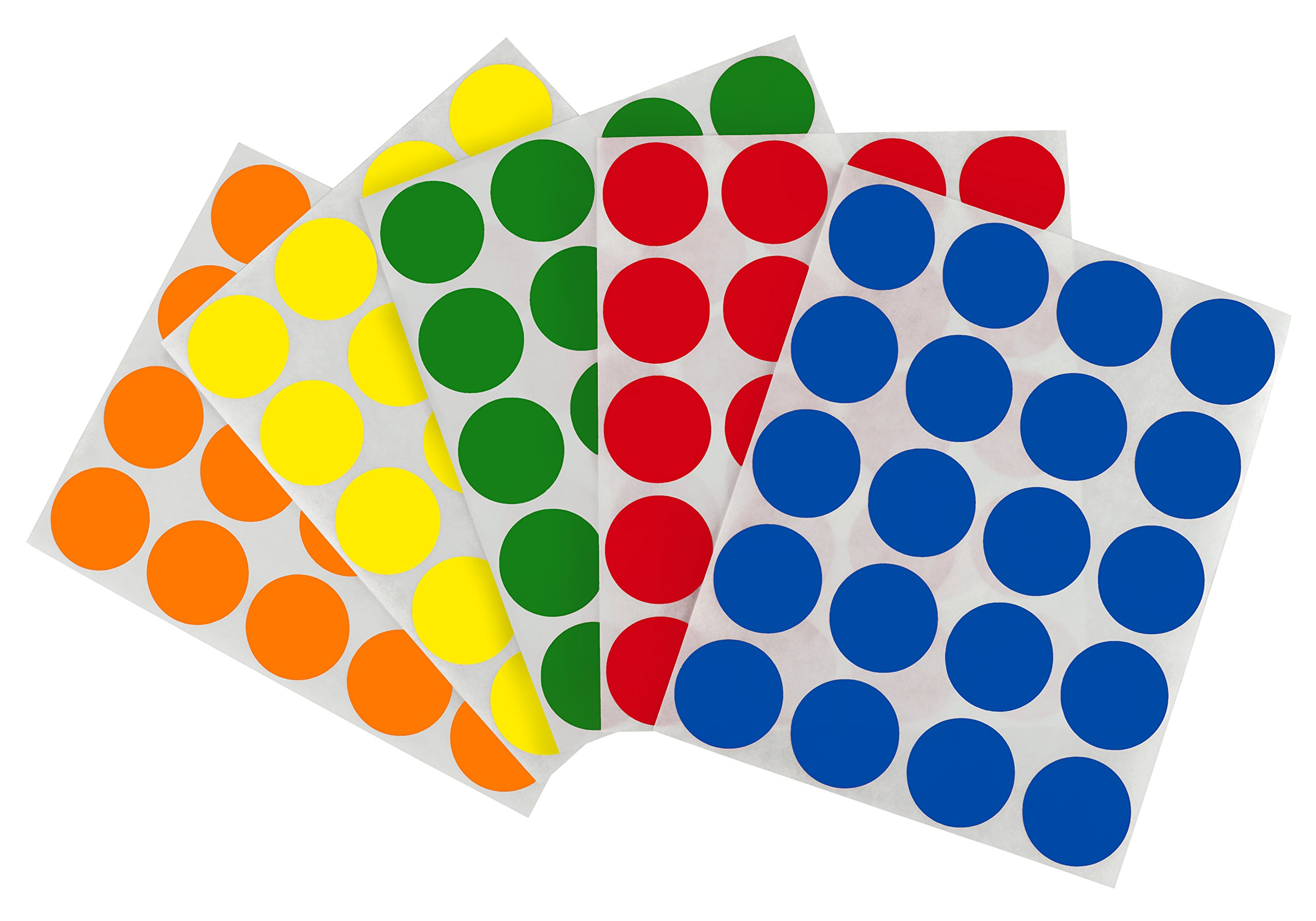 Removable Color-Code Dot Label Kit | 5 Assorted Standard Colors | 1200/Pack (1 inch) by ChromaLabel (Image #1)
