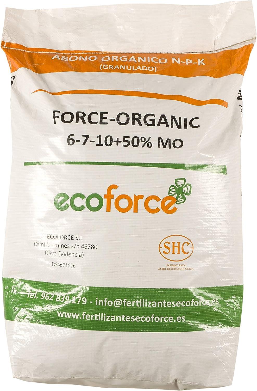 CULTIVERS Force Organic de 20 kg. Abono para Plantas ecológico Micro granulado con NPK (6-7-10) + 50% Materia orgánica y Micro Elementos
