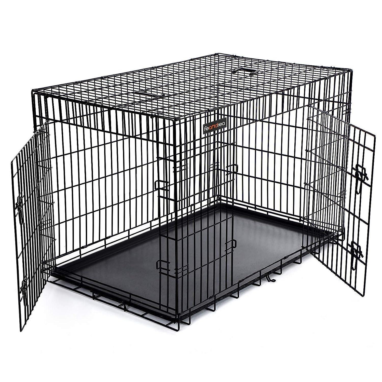 FEANDREA Cage pour Chien 2 Portes Pliable et Transportable avec Poignées et Plateau Noir XXXL 122 x 76 x 81 cm PPD48H