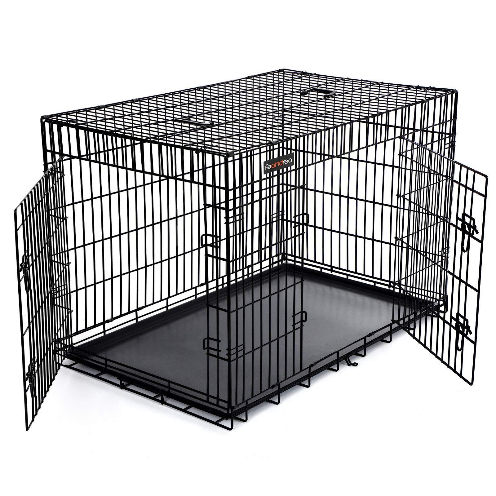 FEANDREA Jaula metálica para Perros Transportín Plegable para Mascotas Negro XXXL 122 x 76 x 81