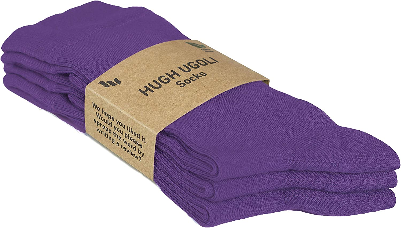 Shoe Size Hugh Ugoli Womens Bamboo Dress Socks Crew Business Casual 6-9//9-12 3 Pairs