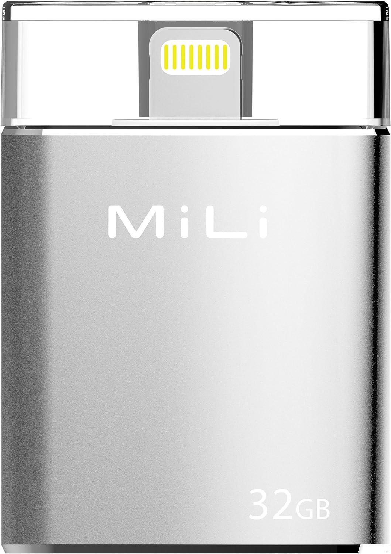 MiLi USB Flash Drive [Apple MFi Certified] iData 32GB Portable Storage USB Flash Drive Specialized for iPhone 6/6 plus/5/5s/5c/ipad 4/ipad Mini/i Mac/iPod with Lightning Device - Silver