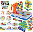2020 Upgrade STEM Educational Toys for Kids, Electric Drill Puzzle Toy Set and Button Art Kit, 3D Construction Engineering Building Blocks for Boys Girls Ages 3 4 5 6 7 8 Year Old