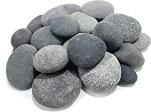 AA Plus Shop 50 Lb. Premium Black Grey Mexican Beach Pebbles 3-5 inches, Decor, Garden, Landscape, Pathways, Backyard, Rock Pebble