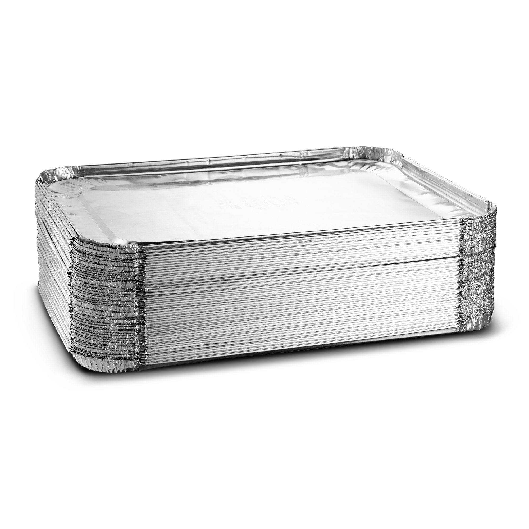 Aluminum Half Size Deep Steam Table Disposable Foil Pan 9X13 Pack of 50 with Lids Safe for Use inOven,Freezer,Cooking, Baking,& Storage