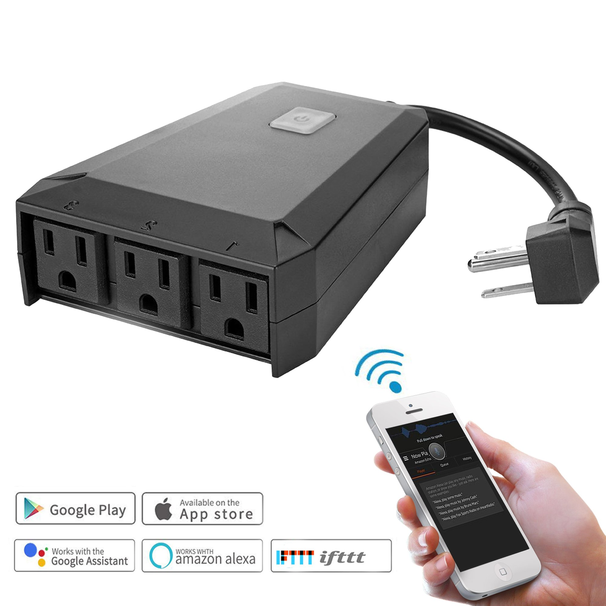 Waterproof Wifi Outdoor Plug Extender, Electric Multi Outlet Splitter 3 Way AC Power Socket Surge Protector Outside Light Timer Remote Control Work with Alexa Google US C128 Black