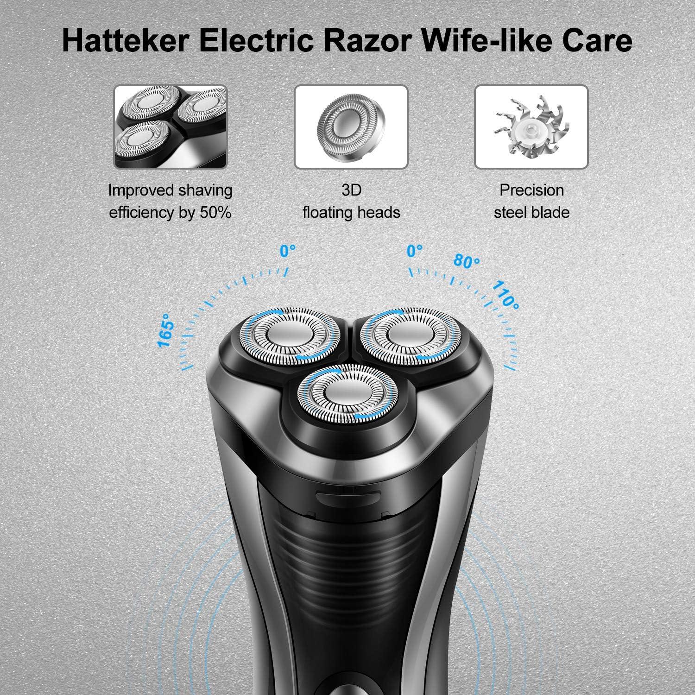 HATTEKER Afeitadora Eléctrica Rotativa Hombres Cortadora de Barba ...