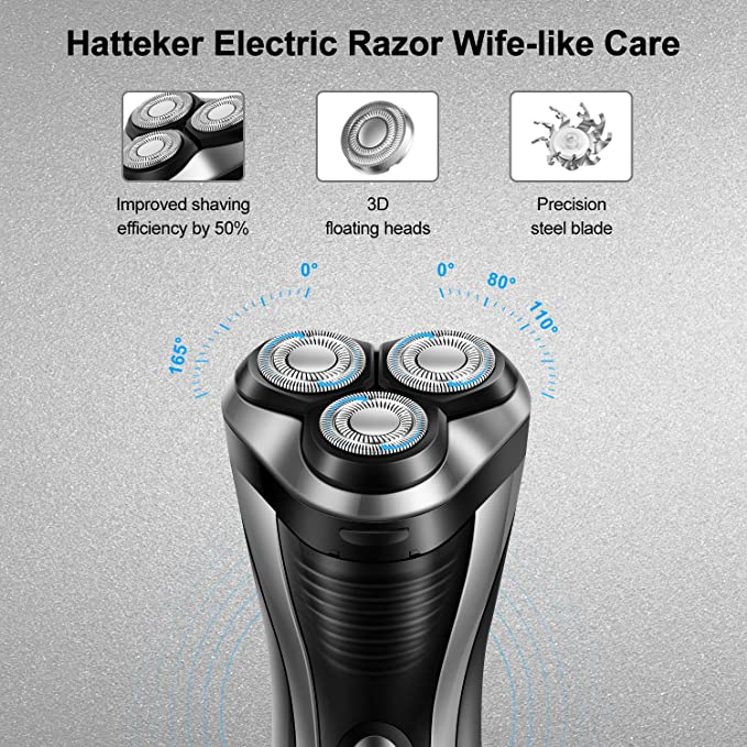 HATTEKER - Afeitadora eléctrica rotativa para hombre, inalámbrica ...
