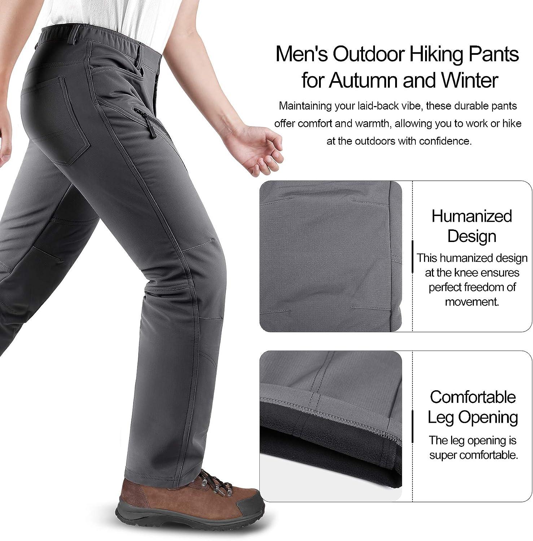 KUTOOK Pantalones Trekking Hombre Softshell Impermeables y A Prueba de Viento Transpirables C/álidos Pantalones Invierno con Forro Polar para Monta/ña Escalada Running HP015