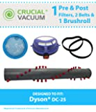 Brushroll, Belts & Pre/Post-Motor Filters for Dyson DC25 Vacuums; Compare to Dyson Part Nos. 91618805, 91479001, 91739101, 91412301; Designed & Engineered by Think Crucial