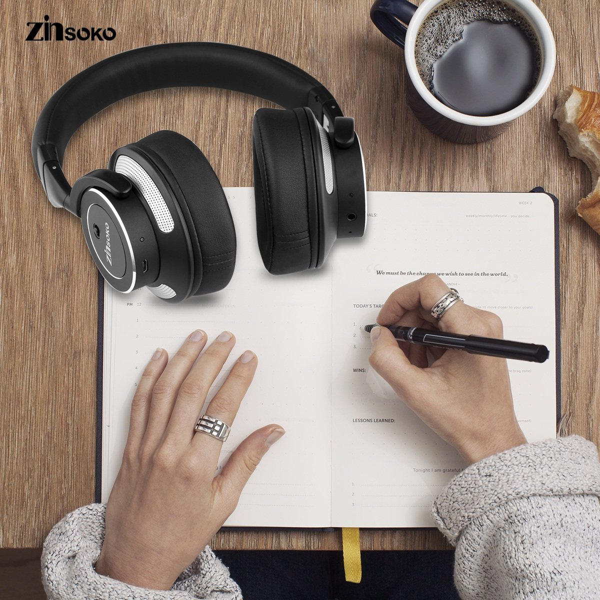 Zinsoko Z-H01 Wireless Active Noise Cancelling Headphones Over Ear Bluetooth Headphone Foldable with HI-FI Deep Bass, Comfortable Protein Earpad, Carry Case for Air Travel, 16 Hrs Playtime (Black)