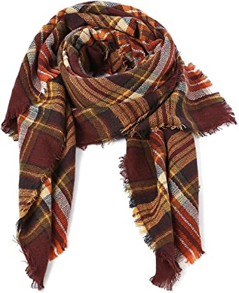 Warm Soft Tartan Shawls Wraps Scarves Plaid Blanket Scarf Winter Fall Scarfs for Women