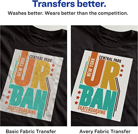 Amazon Com Avery 3279 Printable Heat Fabric Transfer Paper For Diy Projects On Dark Fabrics Make Custom Bandanas Pack Of 5 Fabric Iron On Transfers Office Products