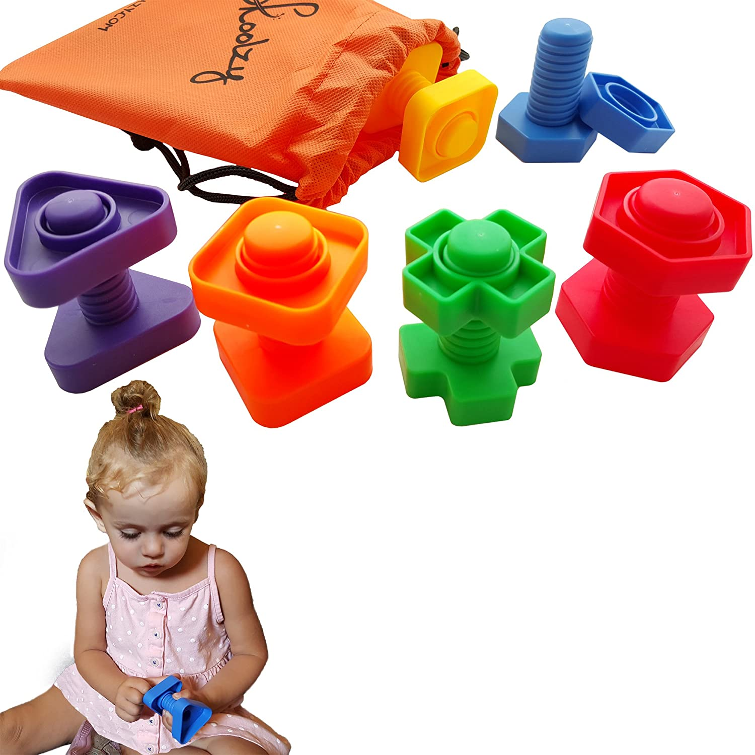 Jumbo Nuts and Bolts Toddler Toys - Skoolzy Montessori Toys Building Construction Set | 12 pc Occupational Therapy Tools Matching Fine Motor Skills for Toddlers Boys, Girls | Learning Activities eBook Review