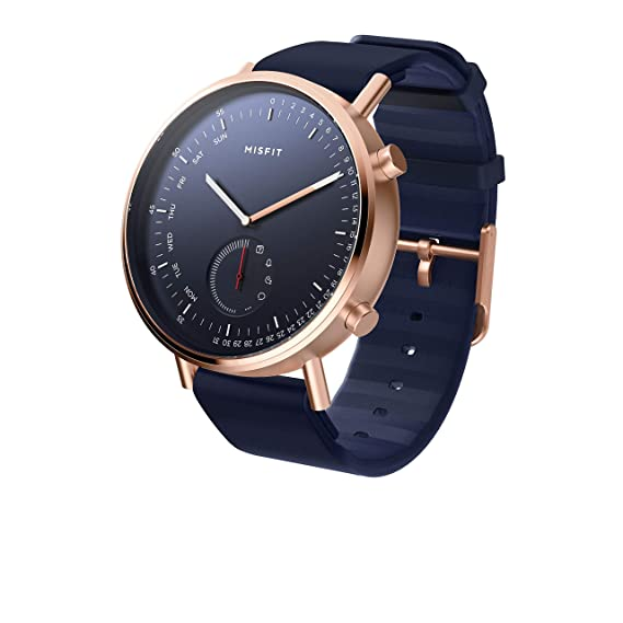 Misfit Command Stainless Steel and Silicone Hybrid Smartwatch; Rose Gold-Tone Blue; MIS5020