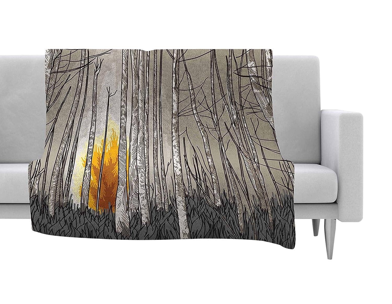 40 X 30 40 by 30-Inch Kess InHouse Sam Posnick Smokey Forest Fire Brown Orange Fleece Throw Blanket