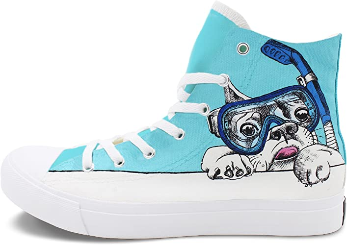 Wen Fire Hand Painted Shoes Pet Dog Swimming Goggle Canvas Original Sneakers