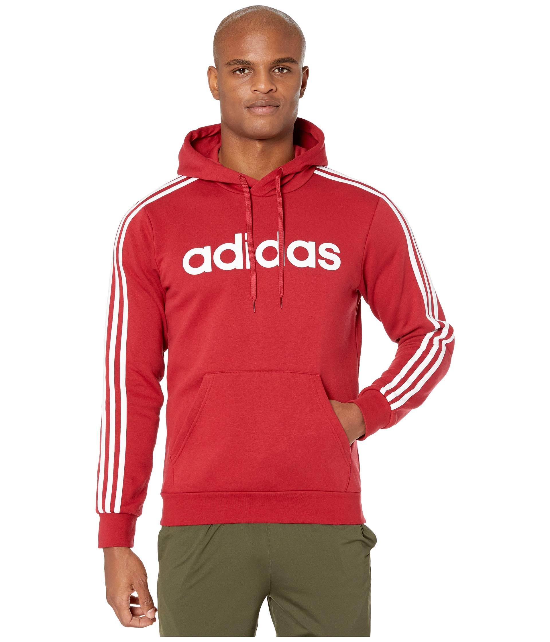 adidas Essentials 3-Stripe Pullover Linear Hoodie Active Maroon/White MD by adidas