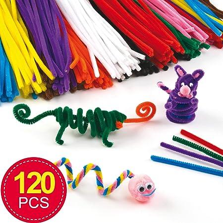 Baker Ross Pack ahorro de limpiapipas de 30 cm en 10 colores variados para manualidades infantiles (pack de 120): Amazon.es: Hogar