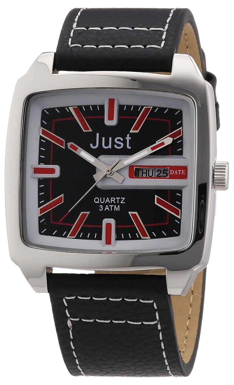 Just Watches 48-S3726-RD - Reloj analógico de cuarzo para hombre, correa de cuero color negro