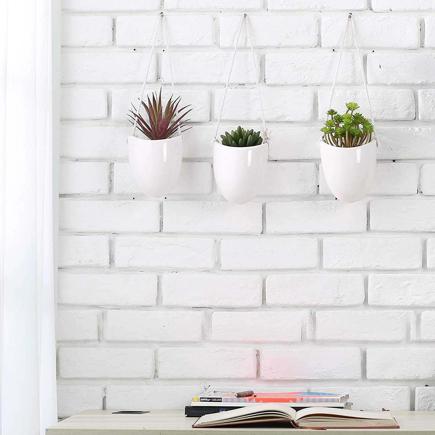 MyGift Set of 6 White Ceramic Wall-Hanging 5-Inch Planters