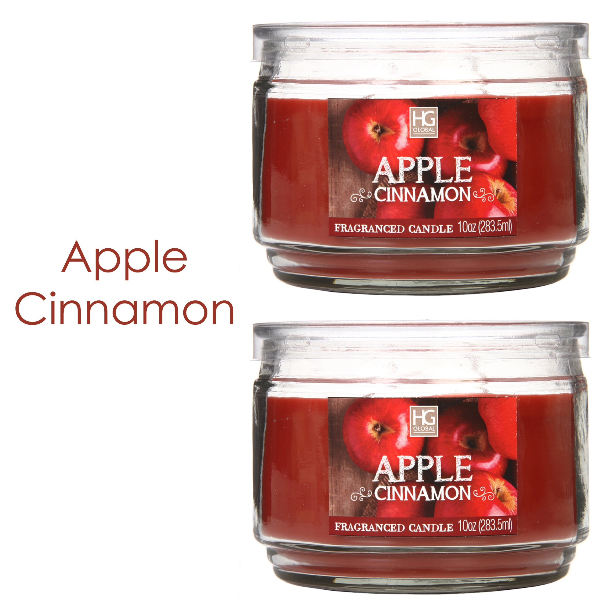 Hosley Set of 2 Apple Cinnamon Highly Scented, 2 Wick, 10 Oz Wax, Jar Candle. Ideal Aromatherapy Votive GIFT for Party Favor, Bridal, Wedding Spa Reiki, Meditation, Bathroom Settings O9