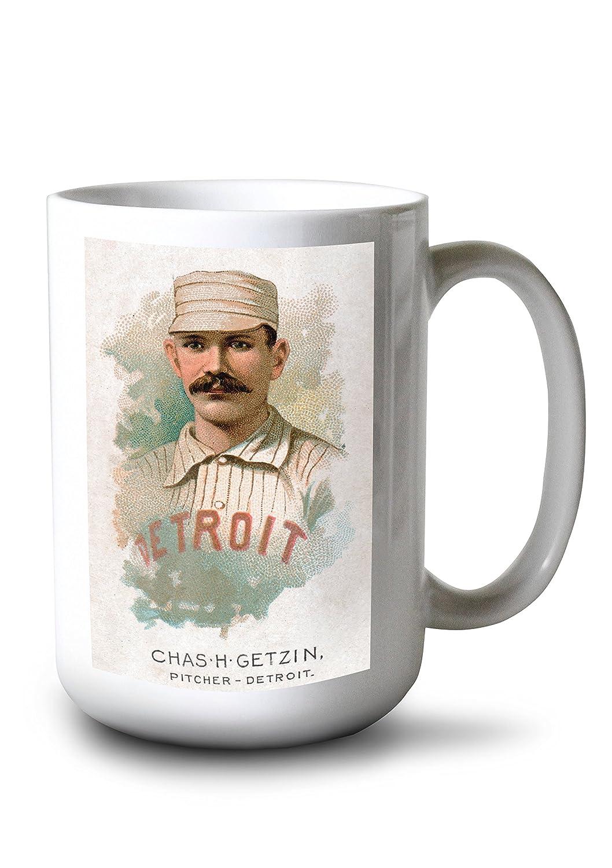 デトロイトWolverines – Chas h. Getzin – 野球カード 15oz Mug LANT-3P-15OZ-WHT-22445 15oz Mug  B077RXZZ19