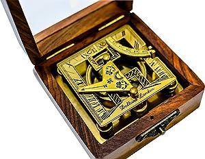 Sailor's Art Antique Brass Square Sundials with Wooden Box - Garden Dollond London - Solid Brass Nautical Sundial - Brass Anchor - Beautiful Handcrafted, Pocket Size Sun Dial Sun Clock