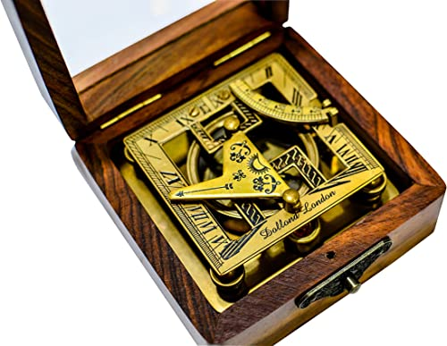 Sailor s Art Antique Brass Square Sundials with Wooden Box – Garden Dollond London – Solid Brass – Sun dial – Brass Anchor – Beautiful Handcrafted Gift – Gift for Friends Family