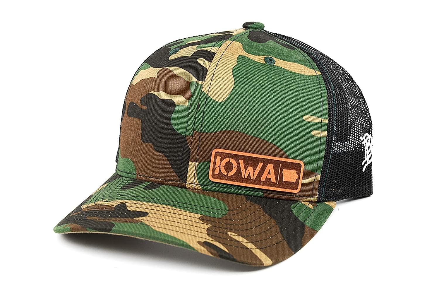 OSFA//Camo Branded Bills /'Iowa Native Leather Patch Hat Curved Trucker