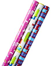Hallmark Reversible Birthday Wrapping Paper, Balloons