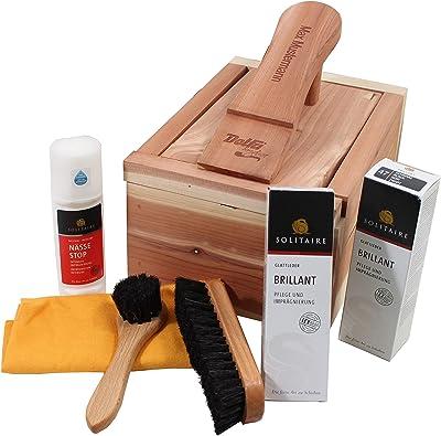 DELFA Caja para el cuidado de madera de cedro con nombre/texto con láser, nuevo con productos Solitaire para el cuidado de los zapatos bien arreglados: Amazon.es: Zapatos y complementos