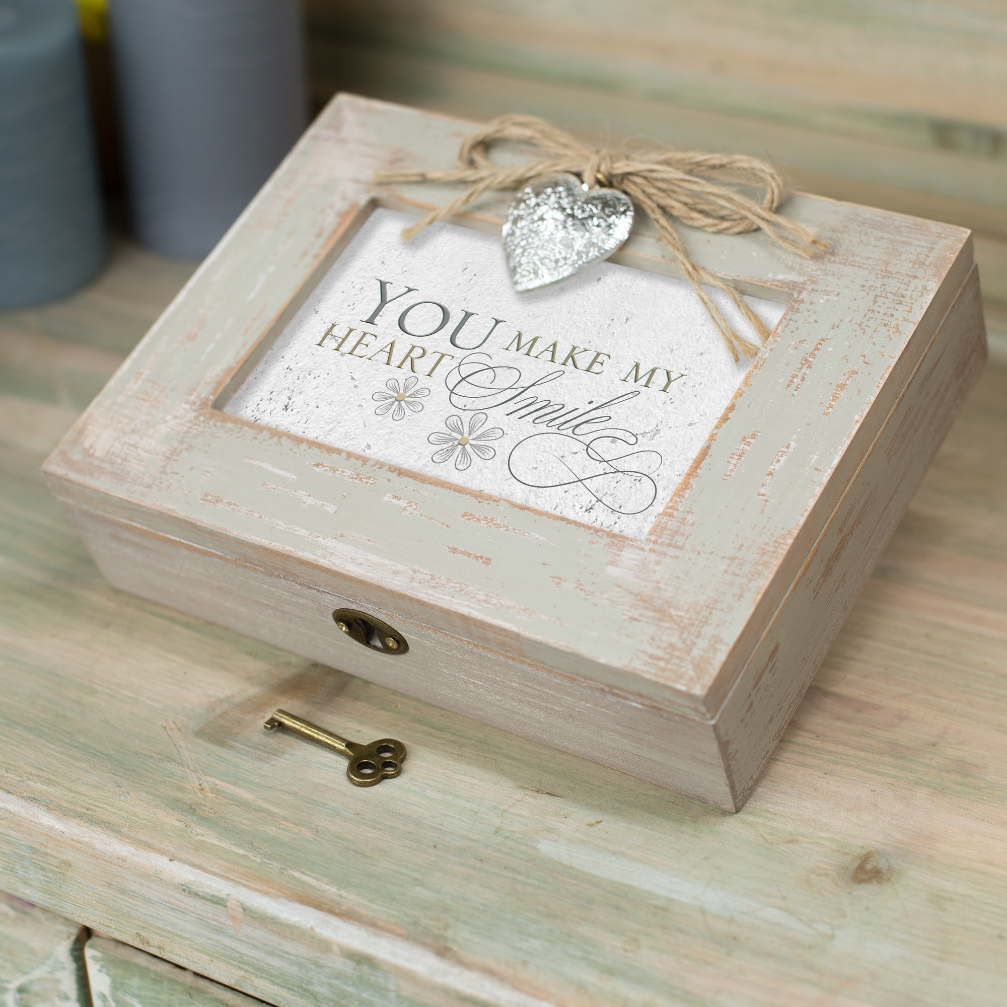 Cottage Garden You Make My Heart Smile Distressed Wood Locket Jewelry Music Box Plays Tune You Light Up My Life by Cottage Garden (Image #4)