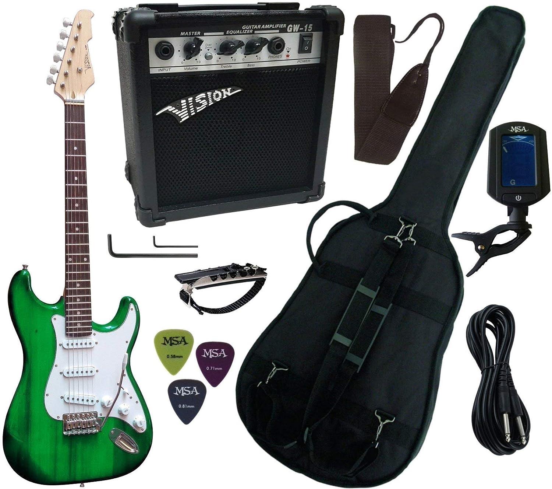 Pack de guitarra eléctrica: amplificador de 15 W, afinador ...