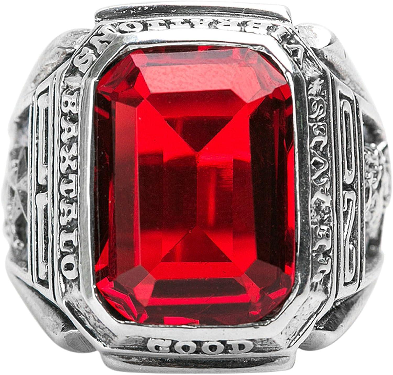Epinki Plata de Ley 925 Gótico Rojo Preciosas Anillo para Hombre para Compromiso y Boda