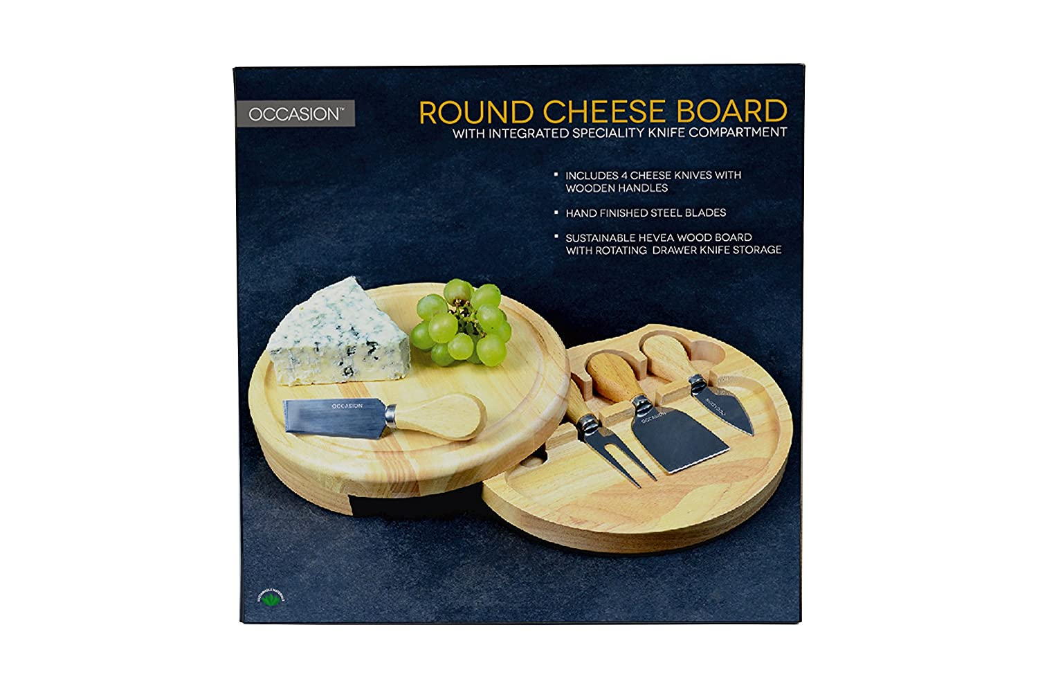 Round Slide Out Cheese Board and Knife Set: Amazon.co.uk: Kitchen ...
