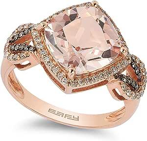 EFFY 14K ROSE GOLD DIAMOND,BROWN DIAMOND,MORGANITE RING