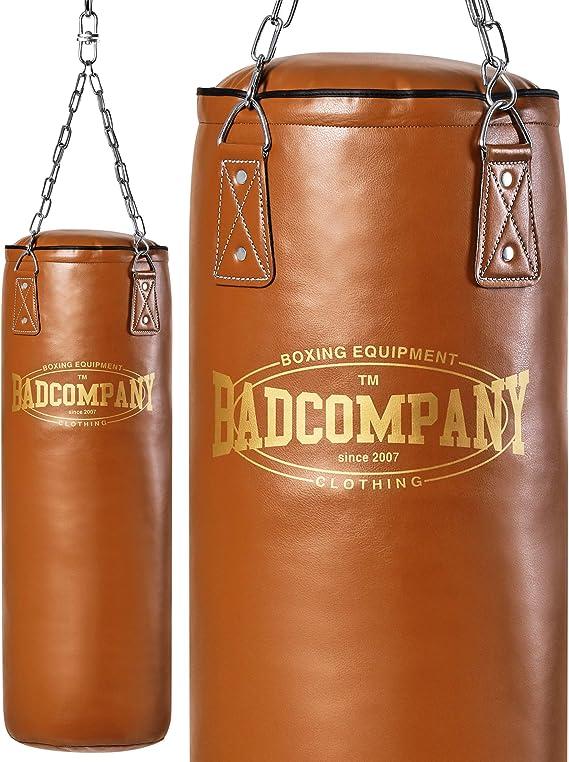 Bad Company Boxsack inkl gef/üllt//ungef/üllt I 80//100//120//150//180 x 35 cm Schwarz Heavy Duty Vierpunkt-Stahlkette I Vinyl Punching Bag