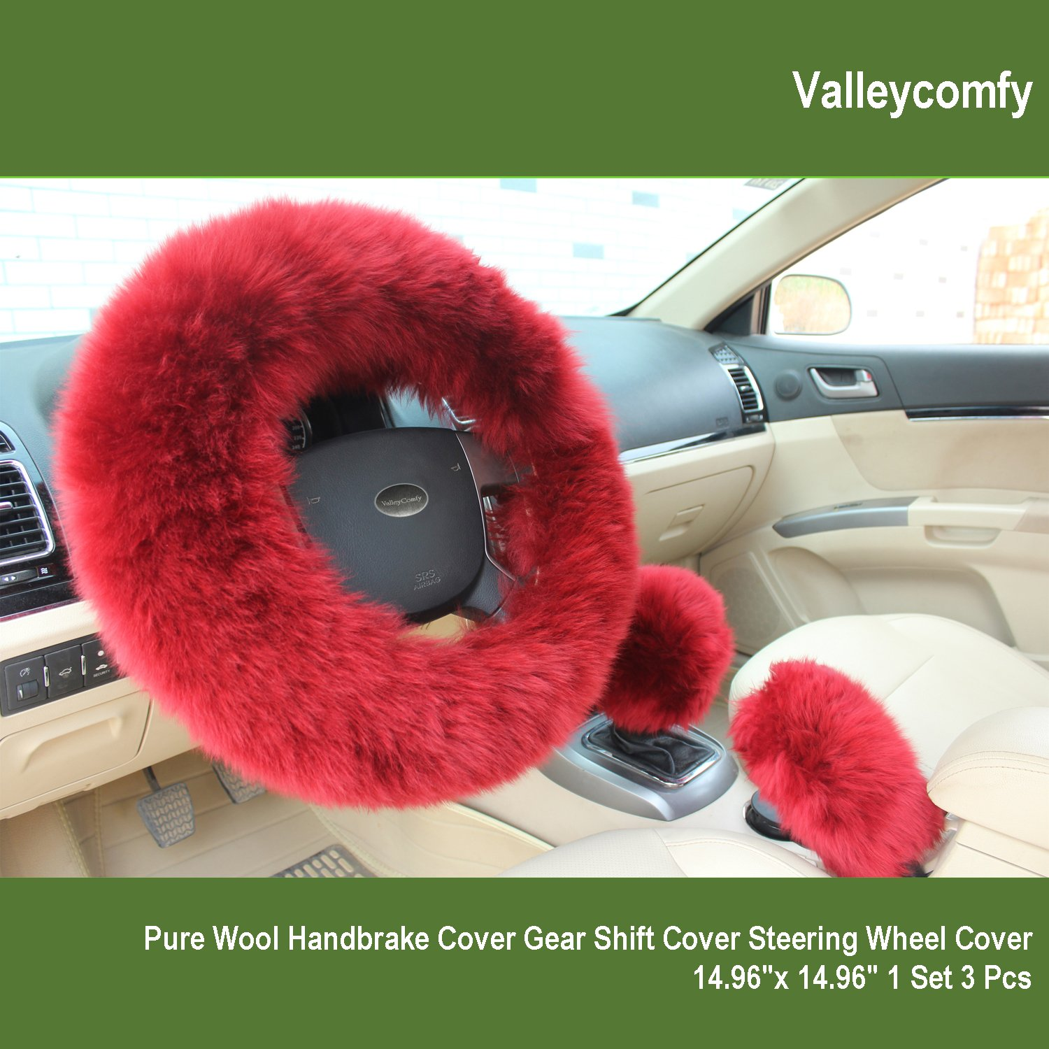 Valleycomfy Fashion Steering Wheel Covers for Women/Girls/Ladies Australia Pure Wool 15 Inch 1 Set 3 Pcs, Wine Red FXPF02
