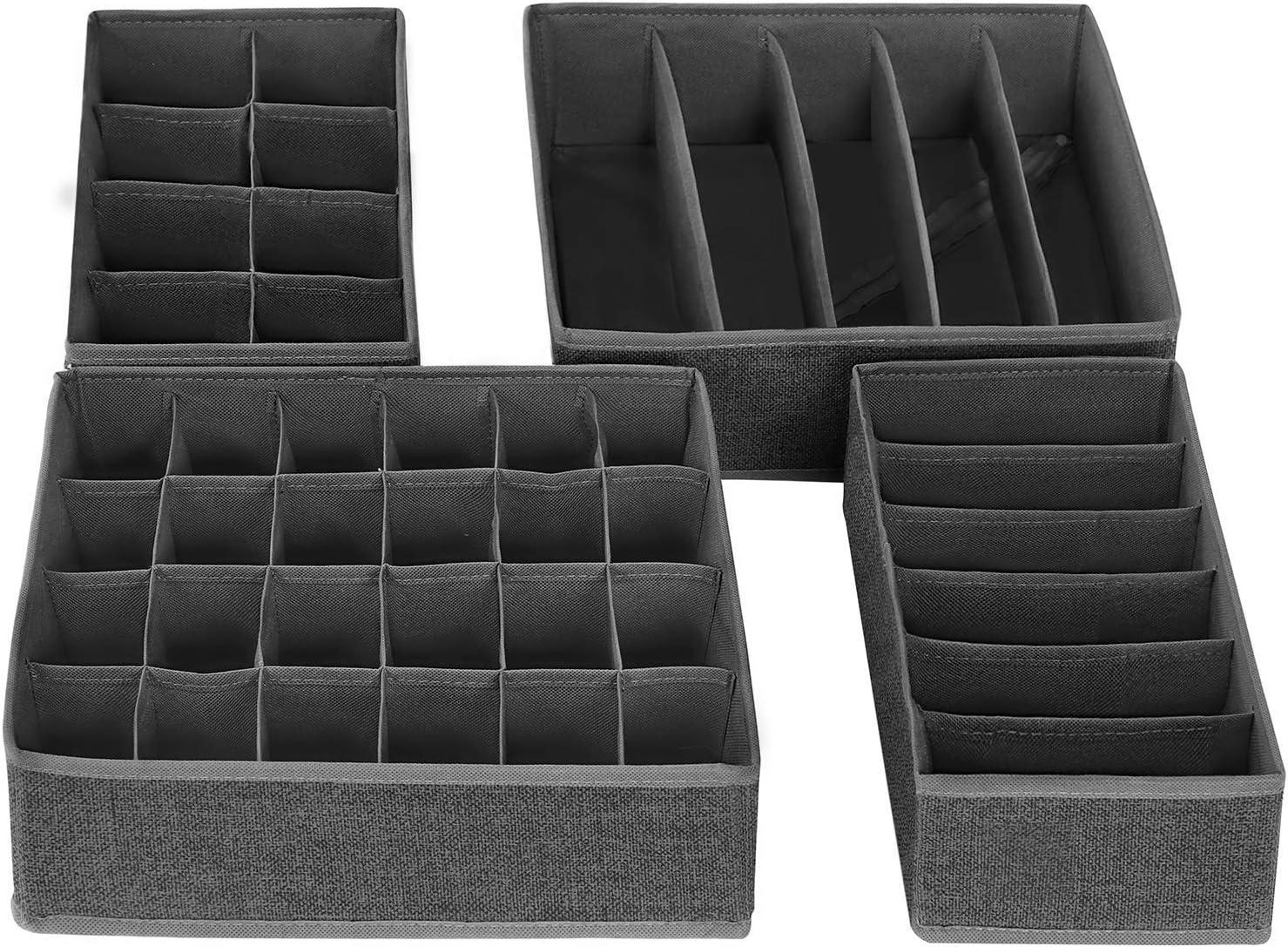 Gris Oscuro SONGMICS Organizador para Cajones con Compartimentos Caja de Almacenaje Plegable RYUS04W Organizador de Armario para Ropa Interior Set de 4 Piezas Calcetines