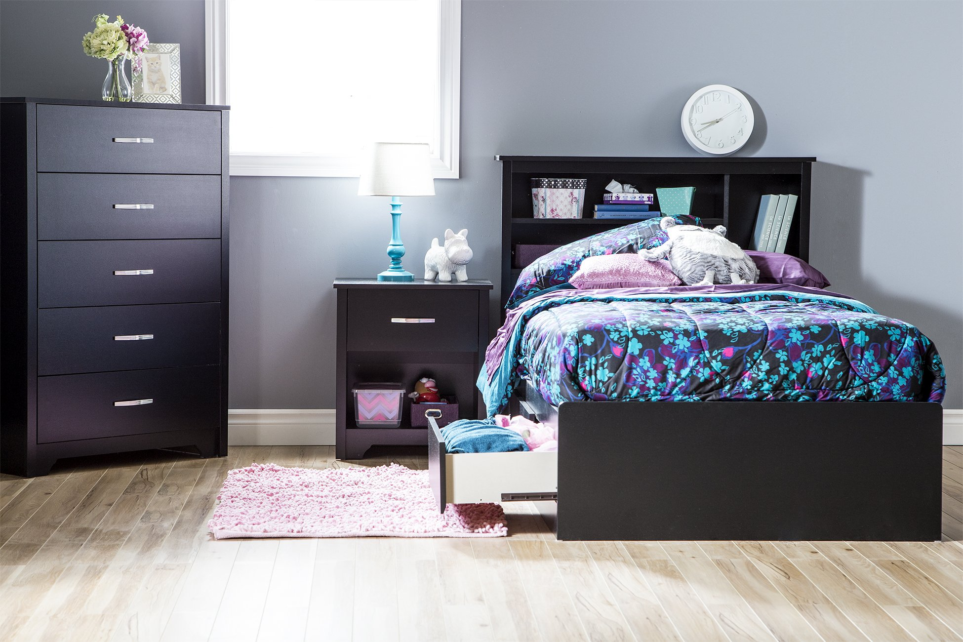 South Shore Fusion Nightstand, Pure Black with Grooved Metal Handles by South Shore (Image #3)