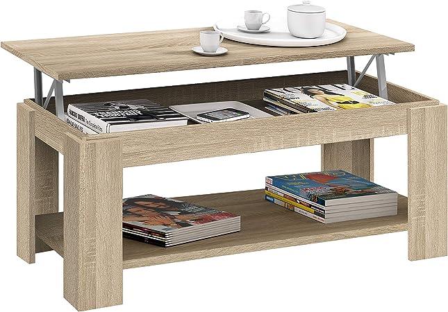 Habitdesign 001639f Table Basse Relevable Habitdesign Avec Porte Revues Intégré Chêne Candian 102 X 50 X 43 54 Cm