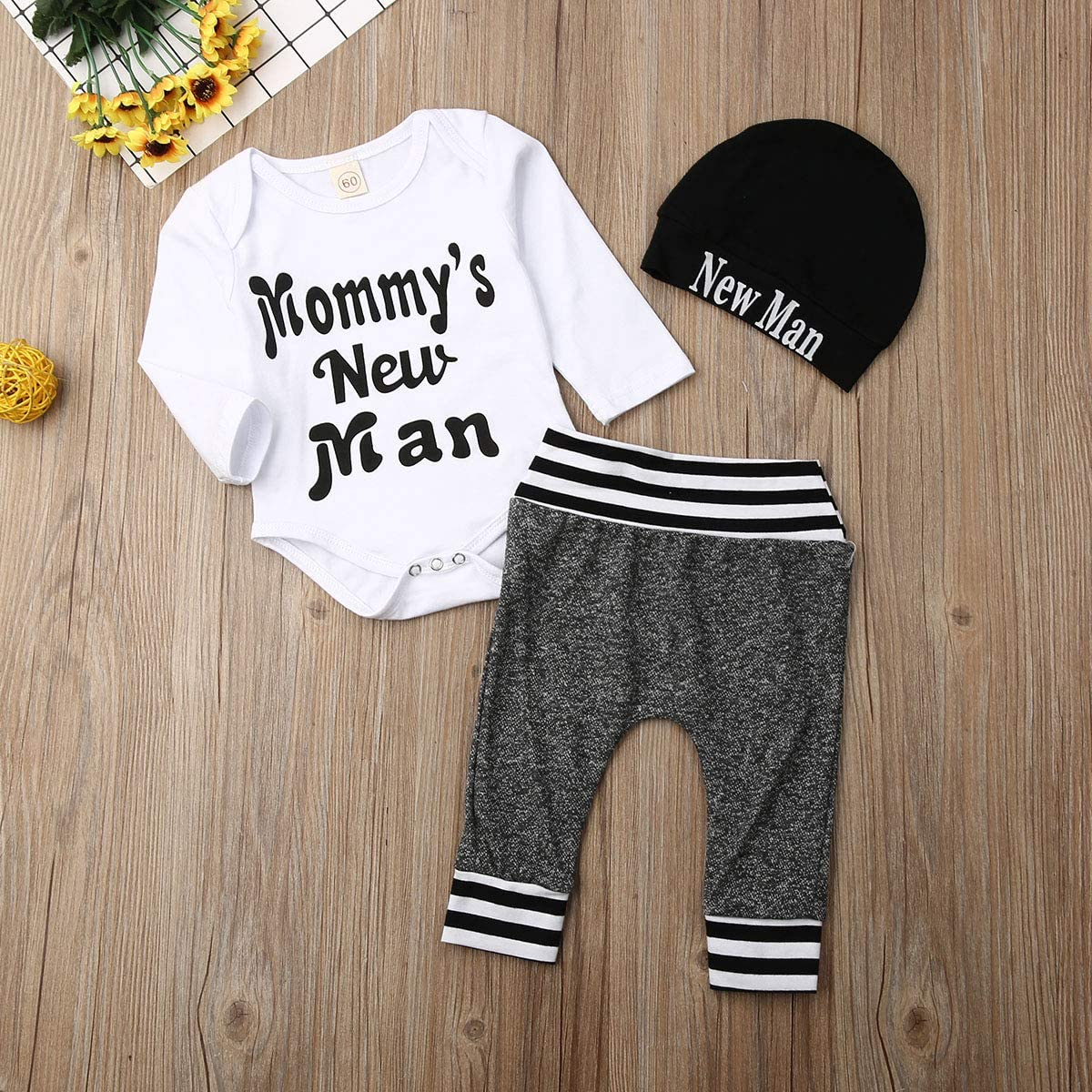 3-teiliges Set lustiges Buchstabenmuster Fiomva Strampler f/ür Neugeborene Lange Hose M/ütze Mommys New Man Oufits Baby Jungen