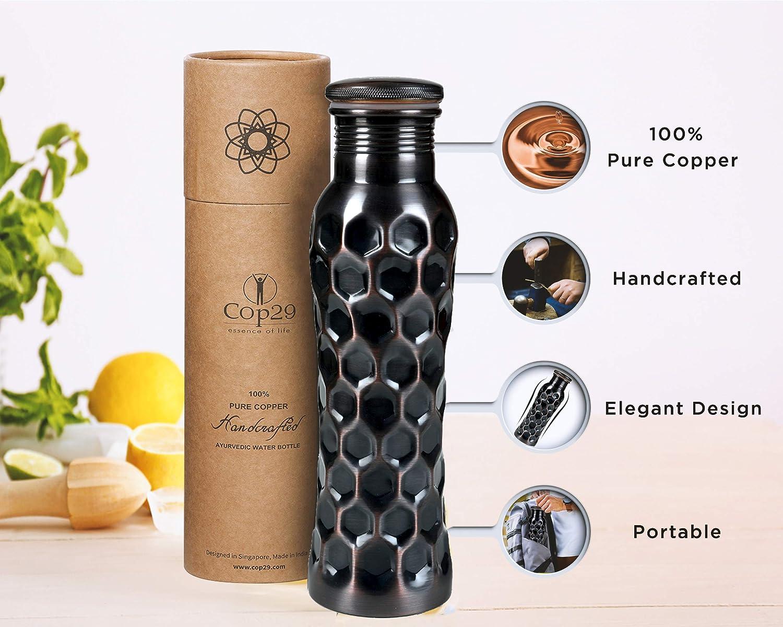 Emballage Cadeau nid dabeille Antique 900 ML // 30 oz COP29 Bouteille deau de f/ée en cuivre Pur Fait /à la Main: Un r/écipient en cuivre ayurv/édique