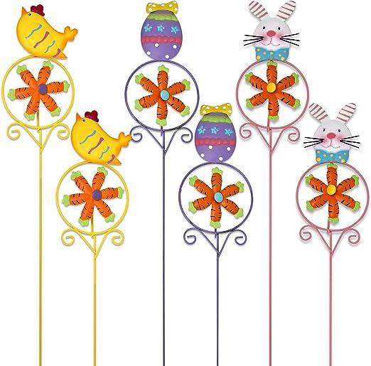 6 Pack estacas para Patio jardín de metal decoración de Pascua ...