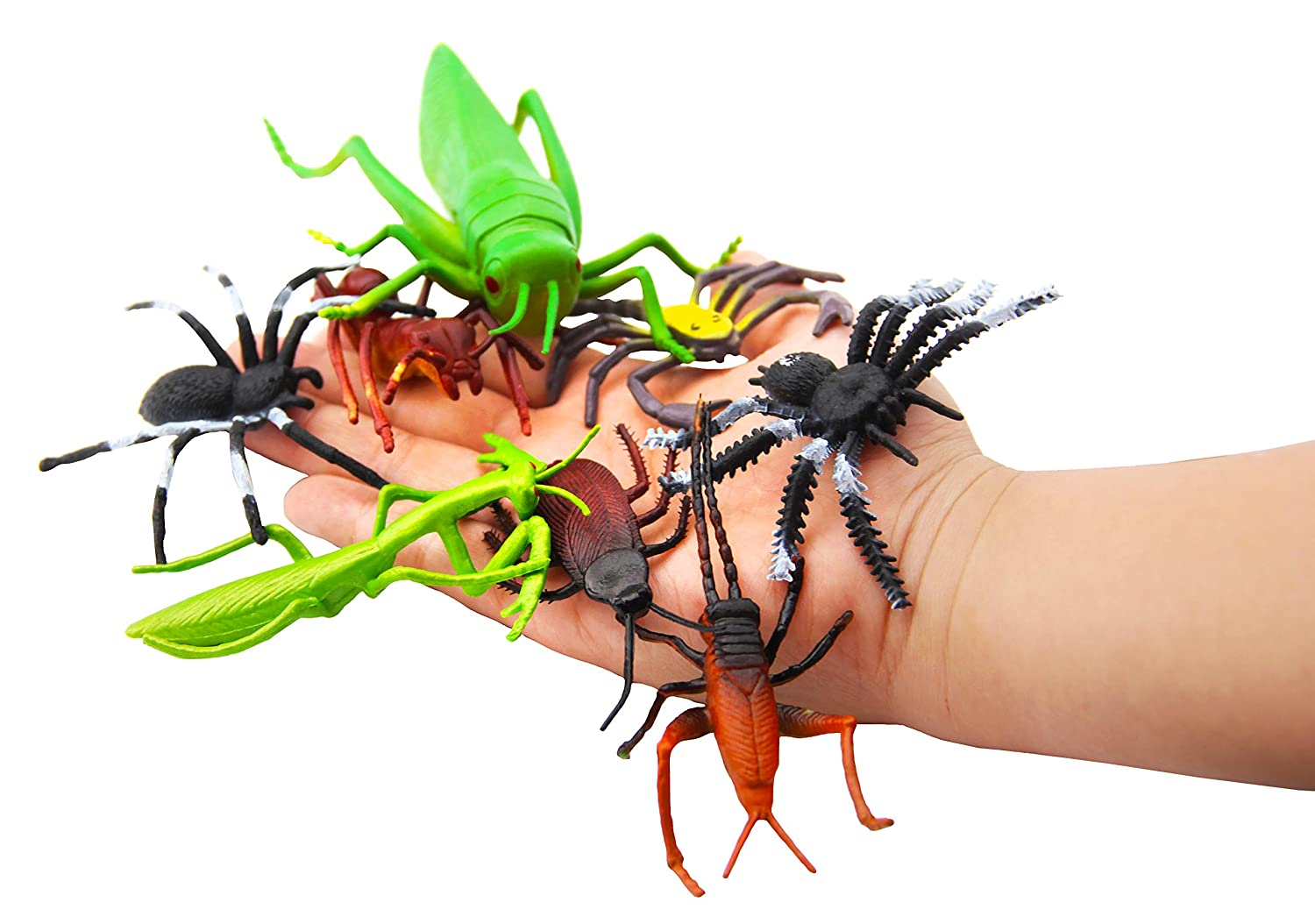 """Fake Spiders Butterflies and Worms for Education and Christmas Party Favors Pinowu 27pcs Bug Toy Figures Playset for Kids Boys Lady Bugs 2-6/"""" Fake Bug Insects Scorpions Crickets Cockroaches"""